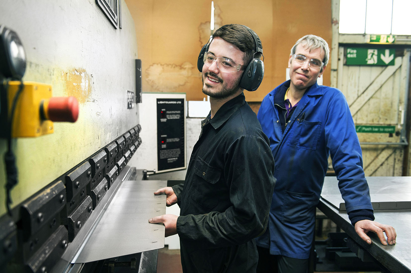 23 February 2015: Engineering firm J & C R Wood, Clough Road, Hull. Apprentice Engineer Jordan Hart with Works Manager Nick Anderson.