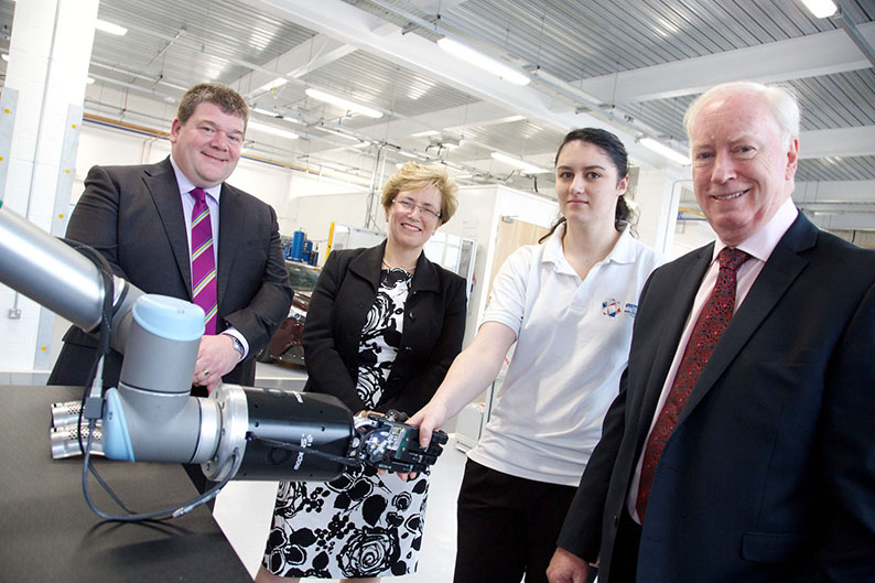 (l-r) Carl Perrin (AME), Carol Burke (Unipart Manufacturing), Maria Maynard-Bligouras (AME Student) and John Neill (Unipart)