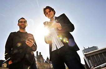 26/03/2012  PICS BY DANIEL GRAVES PHOTOGRAPHY...... Mobile money app settles on Birmingham: Steffan Aquarone (blue Jacket,White shirt) and Will Grant (Glasses),both Settle.