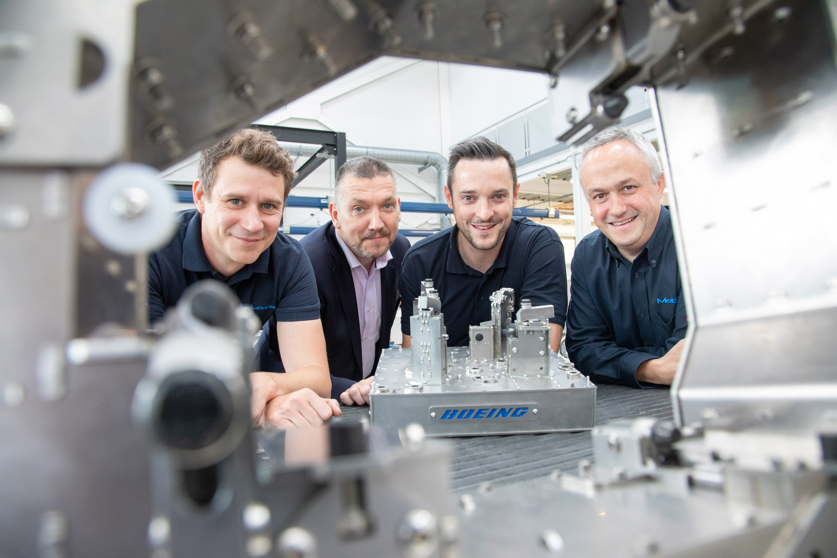 (l-r) Sam Simpson (Principal Engineer at MetLase), Steve Dunn (Managing Director at MetLase), James Needham (Senior Operations Manager at Boeing Sheffield) and Richard Gould (Sales Manager at MetLase)