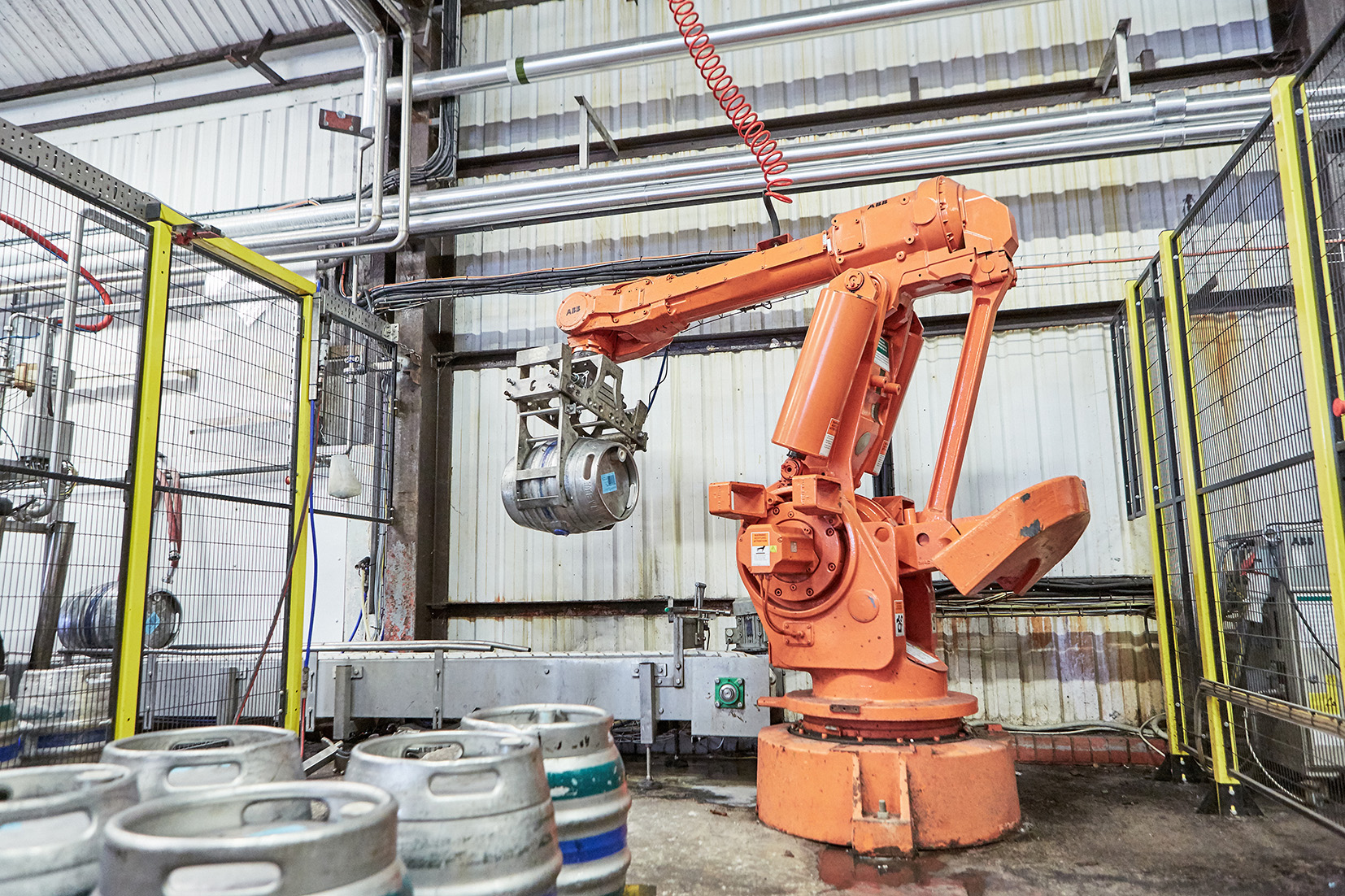 A robot at work at Wye Valley Brewery