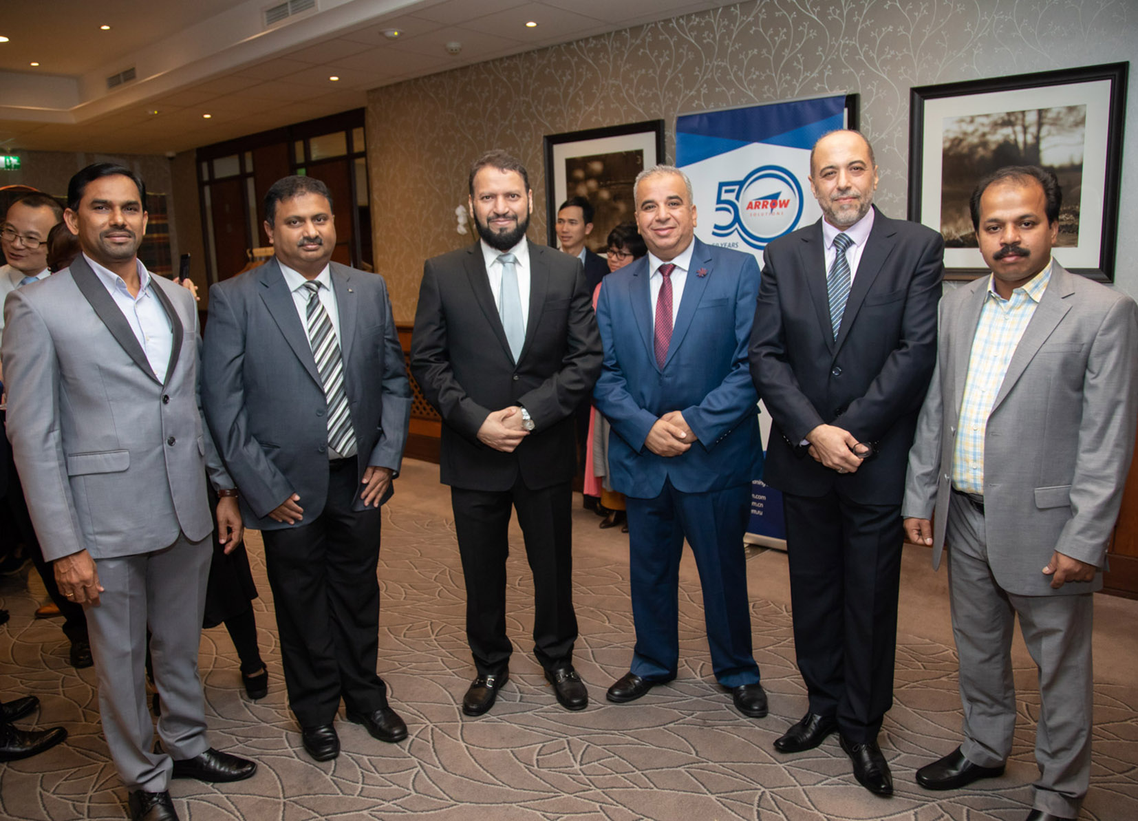 (l-r) N J Joseph (Daze Trading), T M Rajesh (Bitec), Sheikh Ibrahim Al Dossary (Al Shaikh Group), Hussein Al Eyadah (Powerclean), Mufti Al Noaimi (Arrow Solutions - Saudi Arabia) and Ameer Sulthan (Yanama) – some of Arrow's Middle Eastern partners.